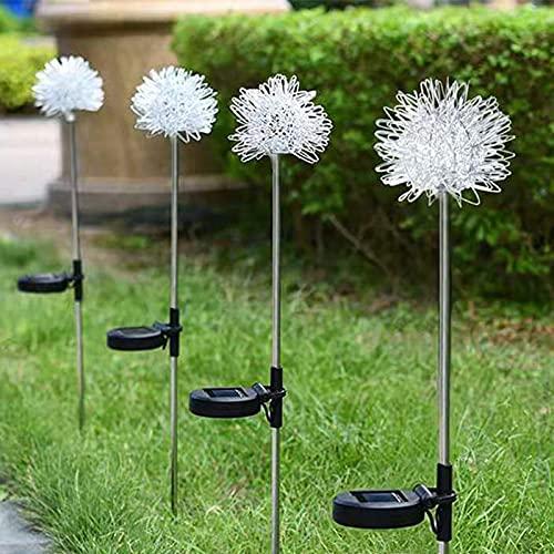 4 luces LED Luz solar para jardín, luces solares Lámpara diente león para paisajes decorativas para jardín impermeable lámpara césped iluminación aire libre luz noche hogar jardín