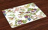 ABAKUHAUS Floreale Tovaglietta Americana Set di 4, Esotici Fiori di Primavera, Tovagliette in Tessuto Lavabile per Tavolo da Pranzo Cena, Multicolore