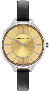 Kenneth Cole New York Women's Transparency Stainless Steel Japanese-Quartz Leather Strap, Black, 10 Casual Watch (Model: KC50538005)