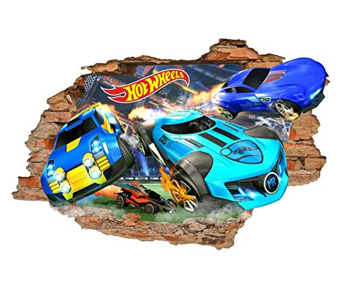 "CSCH Pegatinas de pared""Adhesivo de pared CSCH, calcomanías de pared 3d Hot Wheels, adhesivos de pared de juguete, automóviles, adhesivos de vinilo extraíbles\"""