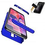 BIZHIKE Funda 360 Grados Integral para Huawei Mate 7/Mate 20 Lite Ambas Caras+Cristal Templado 3 in 1 Slim Fit Dactilares Protectora Skin Caso Cover-Azul