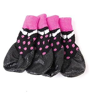 Generic Chaussettes Antidérapantes Imperméables Chien Chiot Chat Chaussures Animal Pantoufles