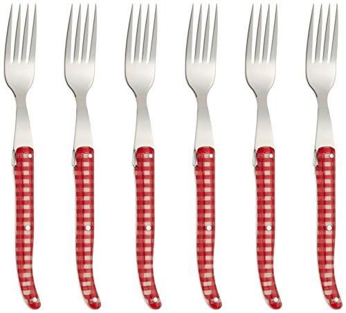Claude Dozorme 2.60.005.25 Laguiole Coffret 6 Fourchettes Steak Manche Incrustation Tissu Vichy