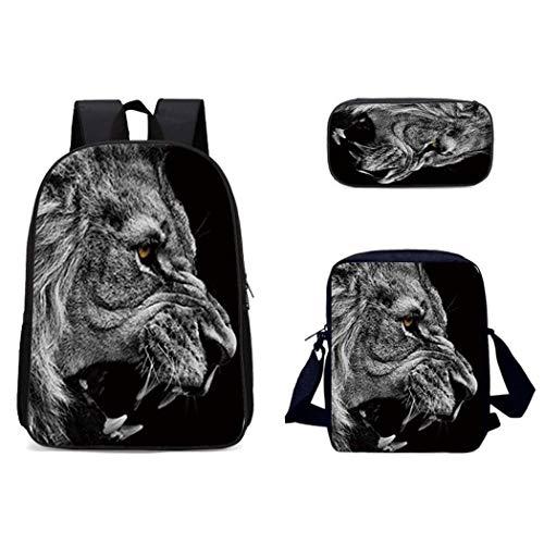Mcvrv 3D Lobo Perro patrón Animal Mochila Escolar Transpirable Viaje al Aire Libre Bolsa de Mensajero Mochila de Tres Piezas Bolsa multifunción,3