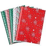 120 fogli di carta velina di Natale 50 x 35 cm fogli di carta velina natalizia da imballaggio Carta velina per lavorazione artigianale carta da regalo di Natale per confezioni regalo Sacchetti Regalo