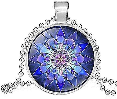 ZGYFJCH Co.,ltd Collar con Colgante de Yoga Espiritual para Mujer, Collar de Henna Yoga, Collar de Flores de Arte Budista, Collar de joyería, Regalos