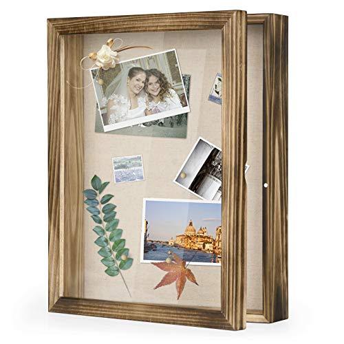 Love-KANKEI 3D Bilderrahmen 28 x 35 cm Holz Objektrahmen zum Befüllen Shadow Box Frame mit 8 Stecknadeln , Geschenk für Familie Freunde usw. (Braun)