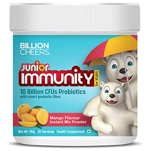 BillionCheers Probiotic Drink for Kids | Build Immunity Naturally Booster, Better Digestion for Growing Children | Sugar Free 30 Servings | Mango Flavour, 5 Years and Above