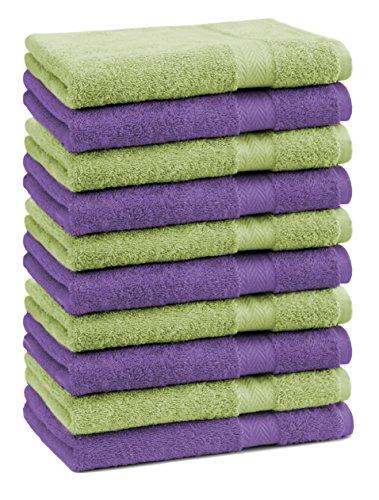 Betz Lot de 10 Serviettes débarbouillettes lavettes Taille 30x30 cm 100% Coton Premium Couleur Vert Pomme et Violet