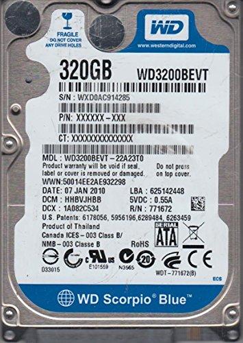 WD3200BEVT-22A23T0, DCM HHBVJHBB, Western Digital 320GB SATA 2.5 Hard Drive