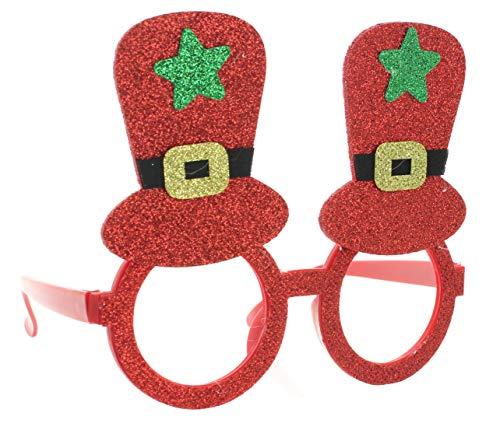 MIK Funshopping Gafas de Navidad divertidas gafas de Gag gafas disfraz Navidad disfraz de Navidad (sombrero rojo brillante