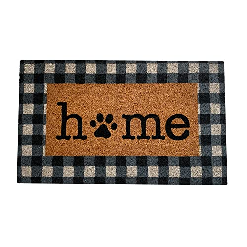 Elrene Home Fashions Farmhouse Living Coir Outdoor Doormat, Natural Entry Mat, Front Door Decor, 18'x30', Paw Print Home