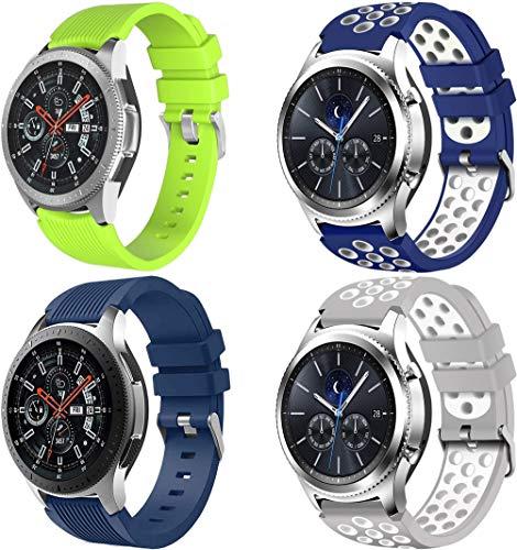 NeatCase Correa de Reloj Compatible con Huawei Watch GT/GT 2e / GT 2 (46mm), Silicona Correa Reloj con Acero Inoxidable Hebilla desplegable (22mm, 4PCS B)