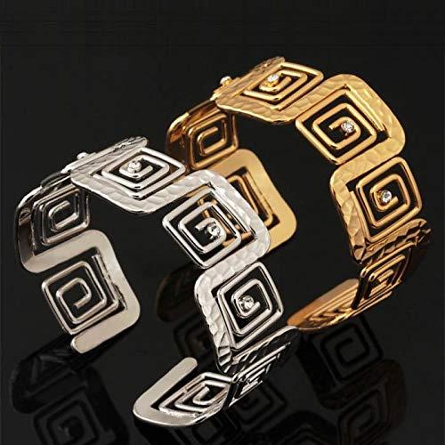 CL-Damen Synthetischer Diamant Manschetten-Armbänder Armband Krystall Strass Platiert Damas Modisch Dubai Armbänder Schmuck Silber/Golden Für Hochzeit Party Besondere Anlässe Geburtstag Geschenk