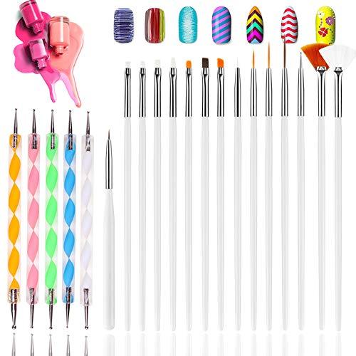 Hanyousheng Pinceles Para Uñas,Pinceles de Manicura,Kit de Accesorios Decoración Uñas Nail Art,15 Pinceles y 5 Punzones Incluidos,Uñas Gel Profesionales Para Diseño de Uñas for Acrylic and Gel Nails