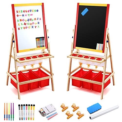 Magicfly Kids Art Easel with Paper Roll, Double Sided Toddler Children Easel Chalkboard and Magnetic Dry Erase Board for Kid Painting and Drawing, Multiple Art Accessories Included, Gift for Ages 2-10