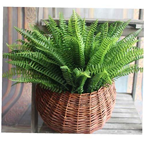 lujiaoshout Plantas de helechos Artificiales de Boston con 7 Hojas Arbustos de simulación Vegetales Arbustos Flor para Interior Exterior Decoración de la Oficina del jardín del hogar - Verde