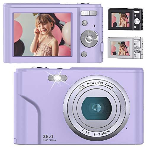 デジタルカメラ 子供用カメラ Anteam 3600万画素 HD1080P録画 16倍デジタルズーム 2.44インチIPS画面 ウェブカメラとして利用 手ぶれ補正 定時自撮り 3連写など 予備バッテリ*2 最大128GBのSDカード対応 日本語取扱説明書付き 子供や初心者など最適ギフト