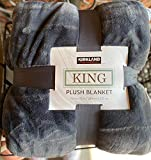 Kirkland Plush Gray King Blanket 112 by 92 inches Huge Super Soft Over 10,000 Square inches