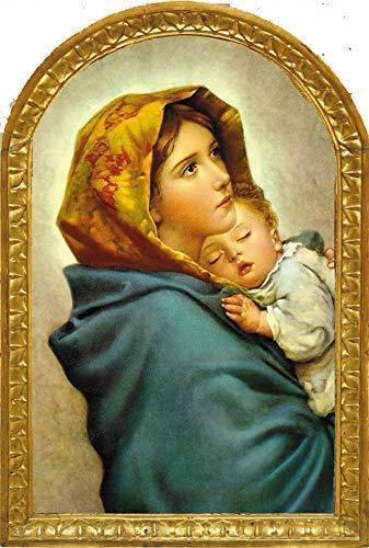 LIPPI DECOR, cuadro icono estilo Clásico madera DMF, Virgen Maria de FERRUZZI 26x40x1 Decora en todos los espacios: moderno, rustico, juvenil, vintage, no pasa de moda.