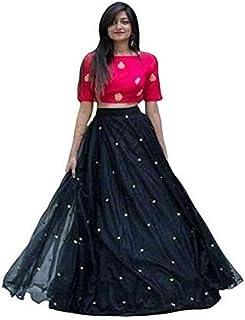 فستان Lehenga Choli نسائي أسود شبه مخيط مع وشاح