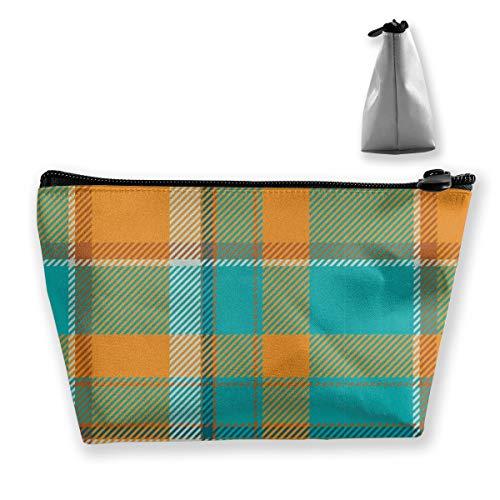 Multi-Functional Print Trapezoidal Storage Bag for Female Orange Blue Plaid Pattern