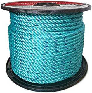 CWC BLUE STEEL Rope Standard Lay, Teal with Dark Blue Tracer (5/16