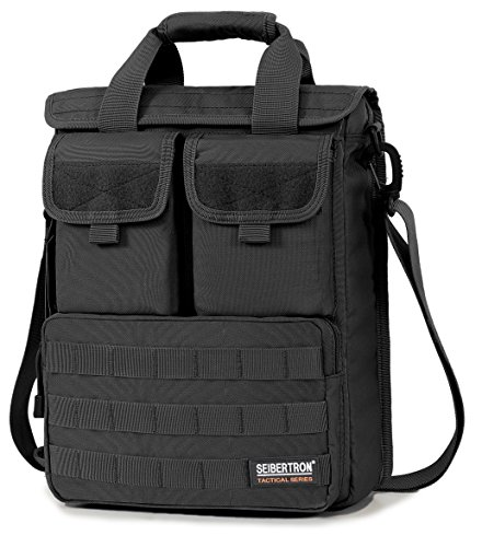 "Seibertron Expandable 14"" Laptop Waterproof Messenger Bag Multiple Pockets & Compartments - Carry as Messenger Bags Black"