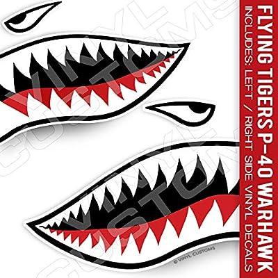 Flying Tigers Shark Mouth Teeth Die-Cut Vinyl Decals (Version 2)