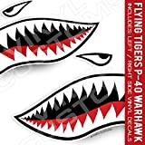 Flying Tigers Decals Shark Teeth Stickers (20' inches - 1 Pair)