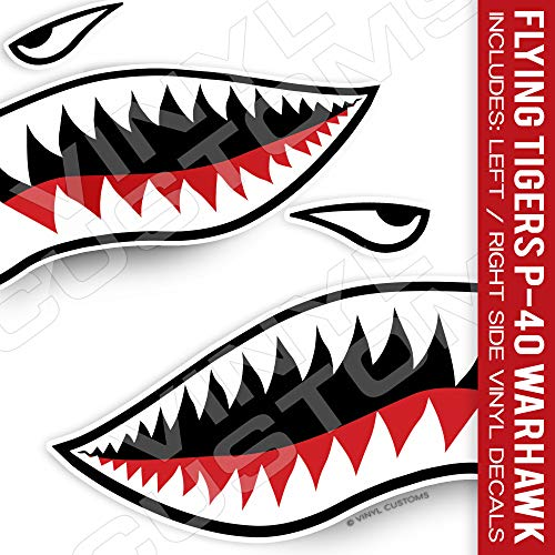 Flying Tiger Decal Shark Teeth Decal Set (3' inches - 3 Pair)