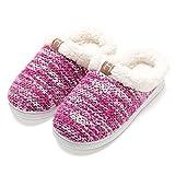 Zapatillas de casa Mujer, Forro algodón, Ultraligero cómodo y Antideslizante, Pantuflas de casa para Mujer, Magenta, 38/39 EU
