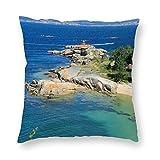 happygoluck1y Lighthouse a illa de arousa tourism landscapes - Fundas de almohada de 45 x 45 cm, funda de almohada de terciopelo para sofá, sala de estar, decoración del hogar para niñas