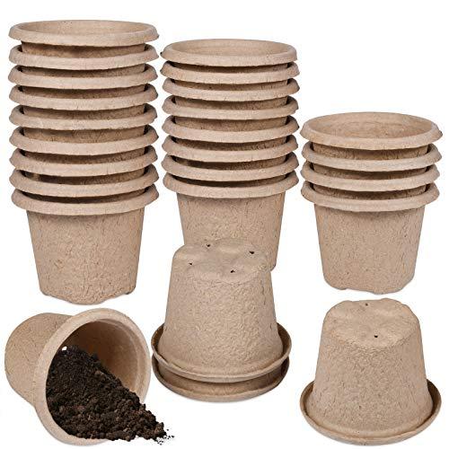 Funmo 25pcs Maceta Biodegradable, Plantas de Fibra Macetas para Flores Planta pote, Maceteros ecológico para Jardín Plántulas y Trasplantes, 100% Biodegradable (Taza Redonda Grande: 11 x 8,5 cm)