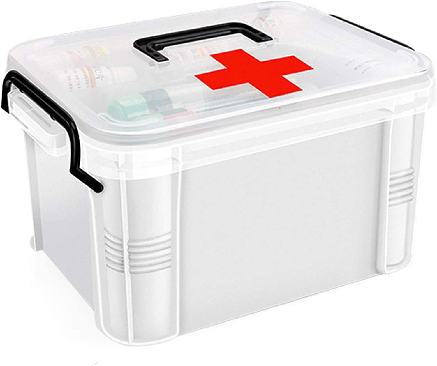YangXu Medical Box-polyethylene Material, Light and Easy to take Moisture and dustproof, Thick and Durable Easy to Clean Multi-Function Double-Layer Large Capacity, Household Double-Layer Medical Box