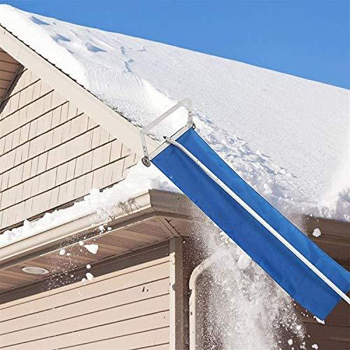 LPing Herramienta de extracción de rastrillo de Nieve de Techo Ajustable,Pala de Nieve de Aluminio de Tela Oxford telescópica con Ruedas,rastrillo de Nieve de Techo de Invierno