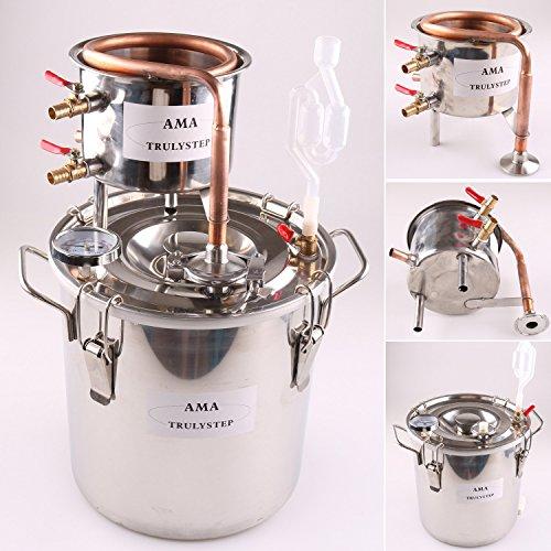Distillatore per liquore fai-da-te, con caldaia in acciaio, termometro, kit per produzione di vino, whisky, olio essenziale, acqua, Acciaio inossidabile Rame, Rame, 10 L Litre