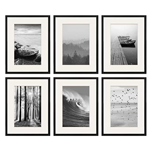 PHOTOLINI 6er Set Poster-Bilderrahmen 30x40 cm mit Passepartout 20x30 cm Modern Schwarz aus MDF mit Acrylglas | Posterrahmen | Wechselrahmen