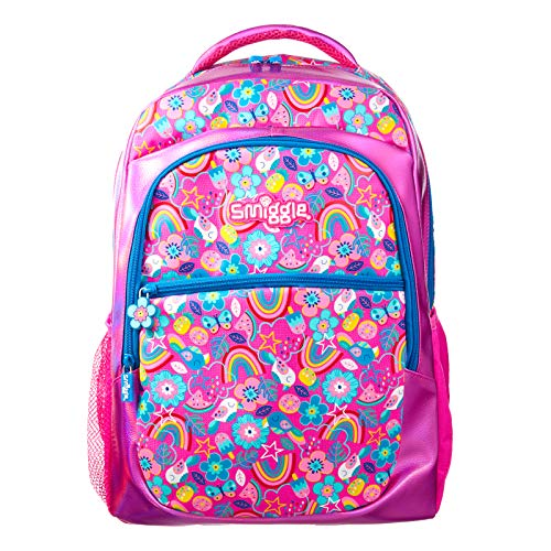 Smiggle Flow Kids School Backpack for Boys & Girls with Laptop Compartment & Dual Drink Bottle Sleeves | Rainbow Print