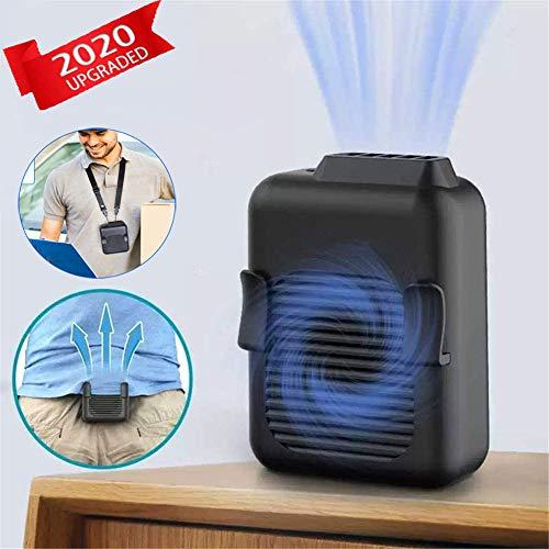 Mini ventilador para colgar la cintura,ventilador portátil para collar,ventilador USB para colgar en la cintura,enfriador portátil ligero y ahorrador de energía con 3 velocidades,negro,G30 6000 mah