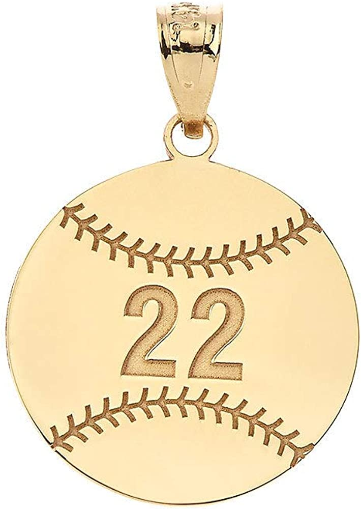 Sports Charms Certified 14k Yellow Gold Personalized Baseball/Softball Pendant with Your Name and Number