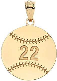 Sports Charms Certified 10k Yellow Gold Personalized Baseball/Softball Pendant with Your Name and Number