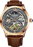 Stührling Original-Automatik-Armbanduhr für Herren, Skelett-Zifferblatt, Dual Time, AM/PM Sonne Mond, Lederband, 571 Herren-Uhren Serie Roségold und Braun
