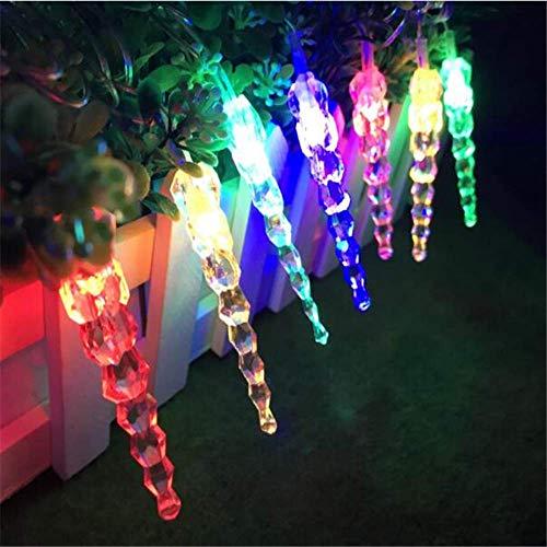 PXNH Iluminación navideña Icicle Decoración navideña Luces navideñas Impermeables al aire libre Cortina de hadas Luces de cadena Enchufe europeo 7.5M 50LED RGB