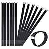 VIGAER 24 inch Cable Straps and Reusable Fastening Tie Down Straps, 12 Pcs Hook and Loop Nylon Cable Cinch Wraps