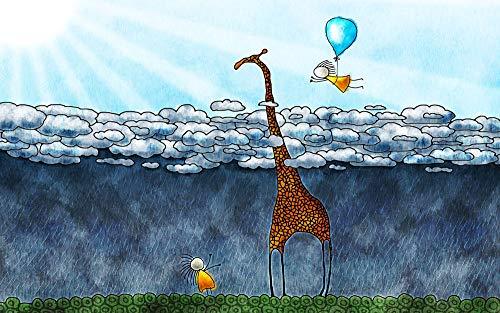 CZYSKY Puzzle 35 Piezas, Nube, Globo, Jirafa, Lluvia, Naturaleza, Movimiento, Niño, Rayos De Sol, Vuelo, Sol, Regalo del Día De La Madre