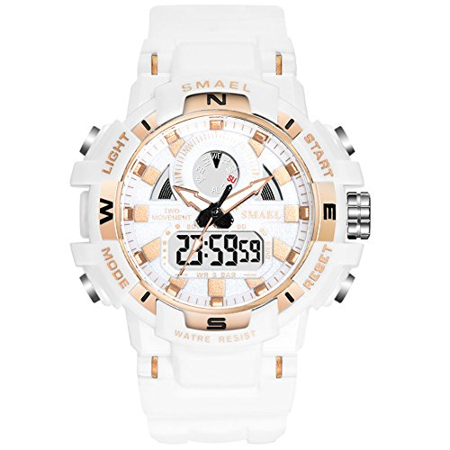 Women's Sports Digital Watch, Waterproof White Wrist Watches for Women (White)