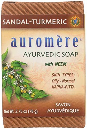 Auromere Ayurvedic Bar Soap, Sandal Turmeric - Eco Friendly, Handmade, Vegan, Cruelty Free, Natural, Non GMO (2.75 oz)
