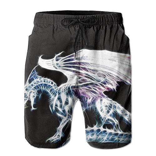 Ehrfürchtig Cool Dragon Tribal Männer/Jungen Casual Shorts Badehose Badebekleidung Elastische Taille Strandhose Mit Taschen,XXL