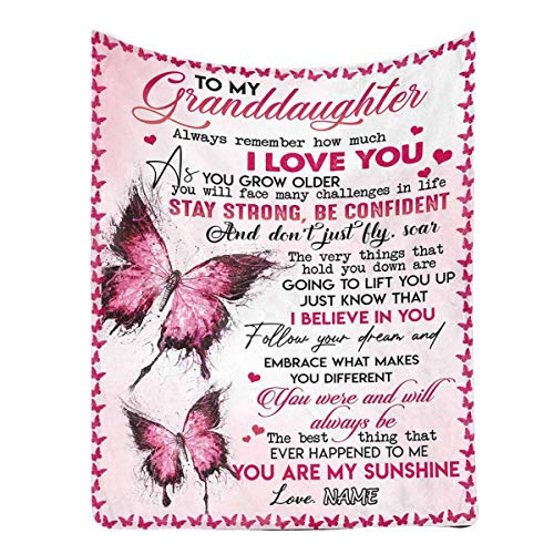 Personalized Custom Name Message Blanket to My Granddaughter from Grandpa or Grandma, Always Remember How Much I Love You, Lightweight Bed Super Soft and Warm Throw Blanket 30 x 40 Inches